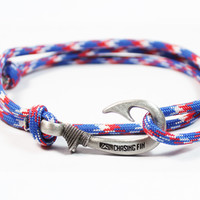Red, White and Blue Fish Hook Bracelet (New)