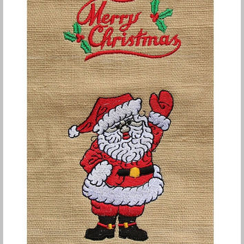 Christmas Gift - Christmas Gift Bag, Santa Claus Embroidery on a Drawstring Bag