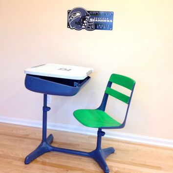 School Desk Chair Combo. Seahawks. Blue and Green. 1950's