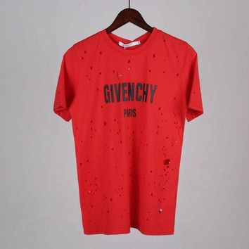 Givenchy Women Ripped Fashion Short Sleeve Shirt Top Tee