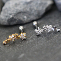 Cartilage Ring, Cartilage Earring, Helix Earring, Helix Piercing, Cartilage Stud, Helix Jewelry, Conch Piercing, Conch Earring, Gold Stars