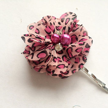 Hot Pink Flower Bobby Pin - Womens Bobby Pin with Chiffon Flower - Leopard Print Flower Hair Pin for Women - Teen Hair Accessory-Hair Flower
