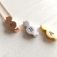 Mini Cat Personalized Jewelry Necklace, Rose Pink Gold, Simple Dainty, Best Friends, Custom Letter, Gift for Her