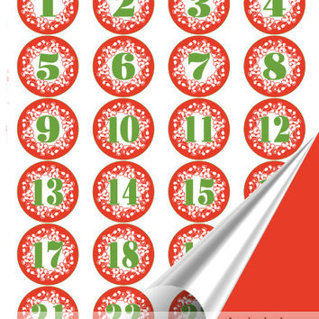 Printable Advent Calendar, Number 1-25 and Letters MARRY CHRISTMAS , DIY Holiday Decoration / green number in red circle, instant download