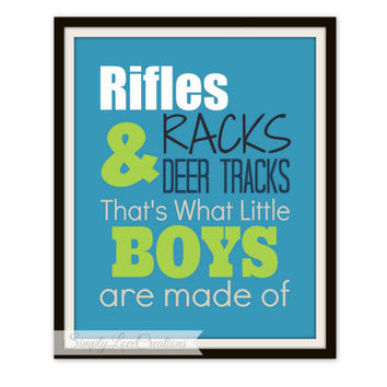 Rifles, Racks & Deer Tracks Print - Boy's Room Decor // Nursery // Deer Print - Deer Hunting Art - 8x10 Print