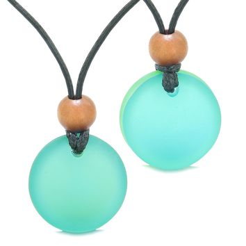 Reversible Full Moon Frosted Sea Glass Sky Blue and Neon Green Amulets Love Couples or BFF Necklaces