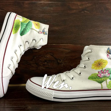 WEN Original Design Summer Lotus Shoes Lotus Converse Hand Painted Shoes,Custom Converse All Star Custom Lotus Art Birthday Gifts Christmas