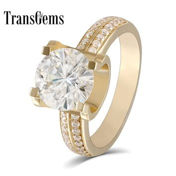 Transgems  2ct Carat Lab Grown Moissanite Wedding Engagement Rings Solid 18K Yellow Gold Lab Diamonds Accents Woman Band
