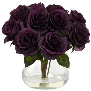 Silk Flowers -Purple Elegance Rose Arrangement With Vase Artificial Plant