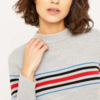 Urban Outfitters Placement Striped Mockneck Jumper - Urban Outfitters