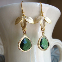 Emerald Green and Gold Leaves Earrings by DesignsbyJocelyn on Etsy