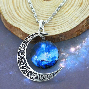 Galaxy Crescent Moon Necklace Silver Galactic Cosmic Stars Bib Pendant Jewelry Charm