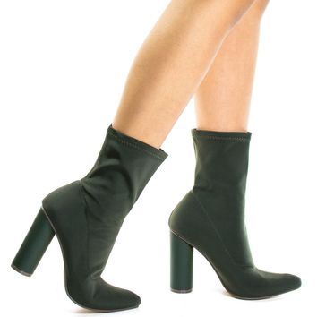 Elssa1 Khaki Green By X2B, Pointed Toe Ankle booties W Stretchy Upper & Rounded Block Heel