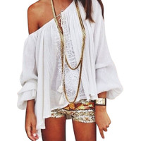 Summer Style Women Boho Loose Tops Off Shoulder Long Sleeve Sexy White Shirt Lace Blouse WJ