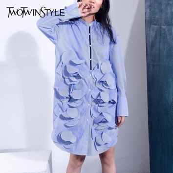 TWOTWINSTYLE Ruffles Shirt For Women Striped Stand Collar Patchwork Oversize Long Blouse 2018 Spring Fashion Female New Clothing