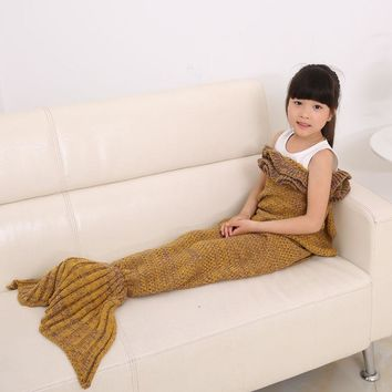 Free PP Kids Children Mermaid Tail Handmade Crocheted Cocoon Sofa Beach Quilt Rug Knit Lapghan Blanket Mermaid Cosplay Costume