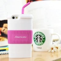 Americano Coffee Cup Silicon Phone Case For iPhone 5/5S (Coffee)