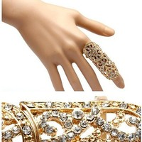 New Hot Punk Rock Full Finger Rhinestone Scroll Armor Joint Knuckle Ring (WP-G95)