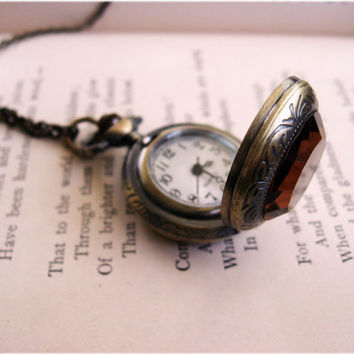 The Clementine Antiqued Pocket Watch Necklace by sodalex on Etsy