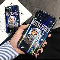 MOSCHINO Fashionable Women Space Bear Astronaut Laser Soft Case Mobile Phone Cover Case For iphone 6 6s 6plus 6s-plus 7 7plus 8 8plus X XsMax XR