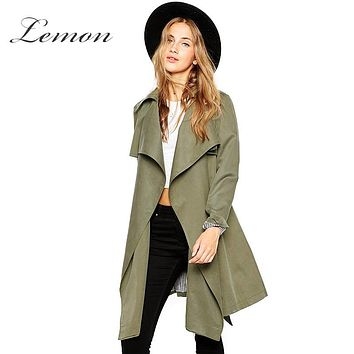 Lemon Autumn Women New Fashion Coat Clothes Solid Army Green Slim Large Lapel Trench Sash Epaulet Casual Mid-Long Line Coats