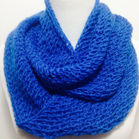 Beautiful Blue Bright Colored Long Infinity  and Elagant Scarf Multi Usable