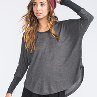 Mimi Chica Dolman Womens Hi Low Thermal Black  In Sizes