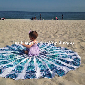 Indian Mandala Round Cover Roundie Tablecloth Yoga Mat Beach Towel Bohemian Beach Throw Mandala Tapestries Wall Hanging decor Art White Blue