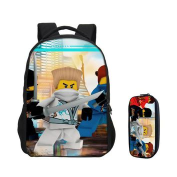 Girls bookbag 2018 VEEVANV Boys Cartoon Movie Lego Ninjago School Bags with Pencile Case New 2 Pcs Set Lego Laptop Backpack Girls Bookbag Kids AT_52_3