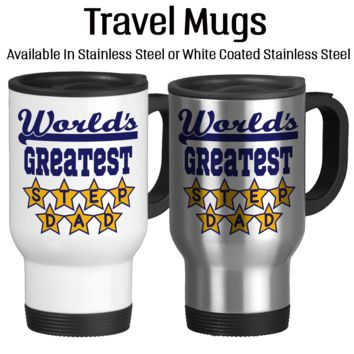 Worlds Greatest Step Dad, Father's Day Gift, Gift For Step Dad, Awesome Step Dad, Travel Mug, Coffee Cup, Stars, Insulated, 14oz