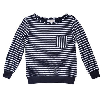Black and Grey Striped Double-Knit Boxy Sweatshirt Top | Unisex