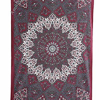 "Amitus Exports ® 1 X Star Mandala 80""x54"" Approx. Inches Maroon Grey Multi Color Twin Size Cotton Fabric Multi-Purpose Handmade Tapestry Hippy Indian Mandala Throws Bohemian Tapestries"