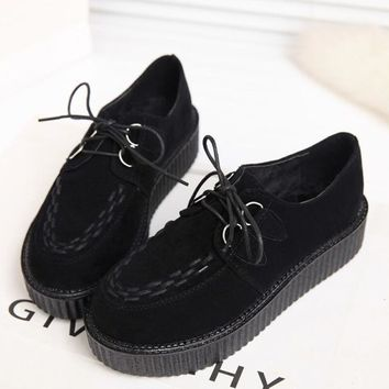 2016 Women Flats Creepers Shoes Black Red Suede Vintage Creepers Platform Shoes Women Boats shoes
