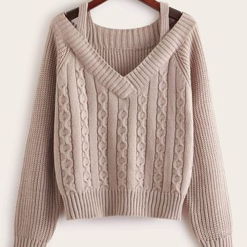 Solid Cold Shoulder Sweater