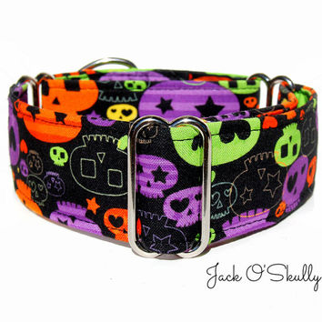 Skulls Martingale Dog Collar - Halloween Martingale Collar, Italian greyhound collar, Greyhound Collar, Whippet Collar, Halloween Dog Collar