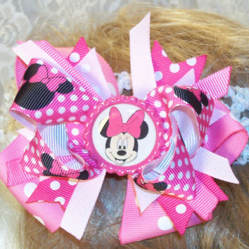 Minny Mouse inspired bottle cap center hair bow infants toddlers girls in hot pinks and polka dots this bow is two bows in one