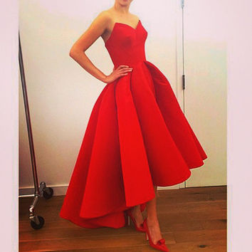 Gorgeous Dress Vestidos Sweetheart A-Line Satin celebrity dress Hot selena gomez Red Hi Lo Summer Party Celebrity Dresses 2017