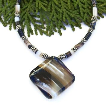 Banded Black Agate Pendant Necklace, Handmade Artisan Gemstone Jewelry