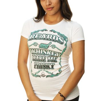Outlaw Threadz Women's Beards And Whiskey Make Me Frisky T-Shirt