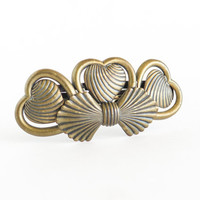 French Metal Barrette Hearts Bow