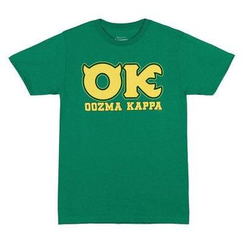 Monsters University Oozma Kappa OK Logo Licensed Adult Unisex T-Shirt - Green