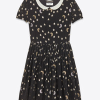 SAINT LAURENT SCHOOLGIRL DRESS IN BLACK, SILVER AND GOLD STAR AND MOON EMBROIDERED SILK GEORGETTE | YSL.COM