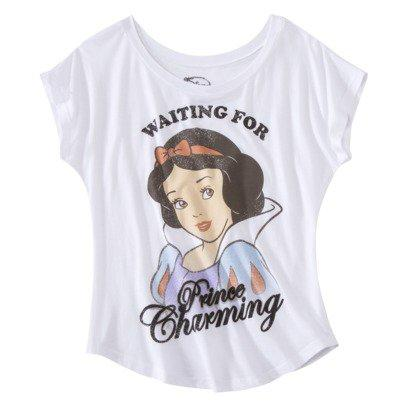 Juniors Waiting for Prince Charming Graphic Tee - White