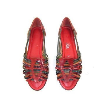 Vintage 80s Leather Huaraches Red Green Colorful Huarache Sandals Leather Flats Woven Leather Slip Ons Beach Flats Boho Sandals Womens 7.5
