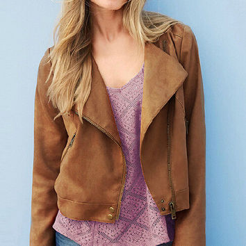 Brown Inclined Zipper Tassels-back Biker Jacket
