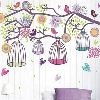 Tree Bird Cage Wall Decal Birds Branch Cage wall stickers vinyl Nature wall Decals baby nursery decals kids wall decal baby girl decals