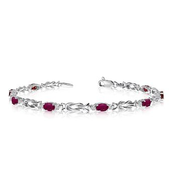 14K White Gold Oval Ruby Stones And Diamonds Tennis Bracelet, 7""