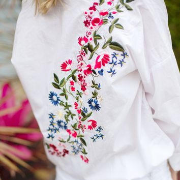 Crisp Embroidered Button Up