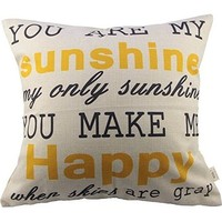 You Are My Sunshine Cotton Linen Pillow Cover, 17.3 x 17.3-Inch