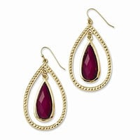 Laundry Gold-tone Raspberry Resin Stone Teardrop Dangle Earrings